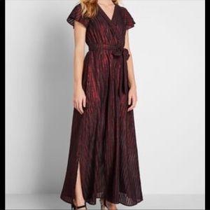 Red Metallic Maxi Dress